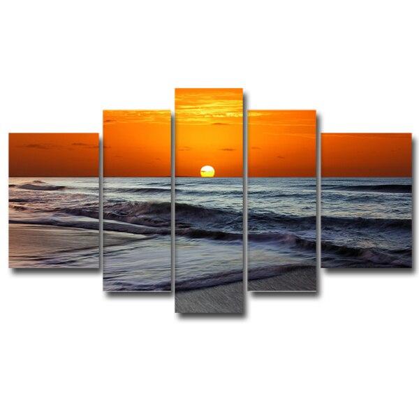 Moderne décor intérieur plage toile conçoit 5 panneau mer plage vague impression sur toile mur Art (sans cadre)
