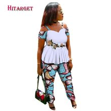 2018 African Women 2 Piece Set Dashiki Cotton Print Wax Crop Top and Pant Good Sewing Suits Clothes WY2967