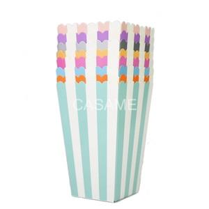 6pcs Popcorn box colorful chevron stripes dot Gift Box Party Favour Wedding Pop corn party decoration bags loot Gold(China)