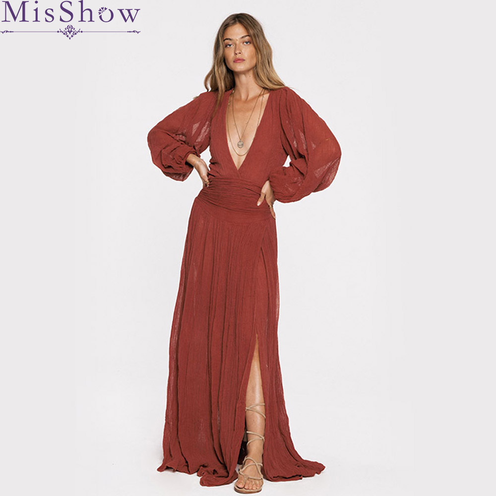 b23f5cdcae04 2019 Women Cotton Deep V neck Maxi Dress Burgundy Beach Boho Long Dress  Pink Floor length Split Party Dresses Vestidos XL 2XL