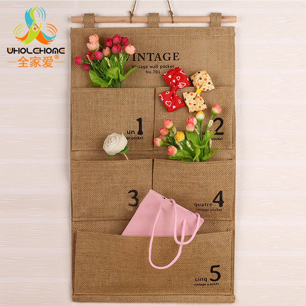 Natural Storage Bag Cotton&Linen Fabric Hanging Organizers Wall Style Make Up Bath Pocket Holder
