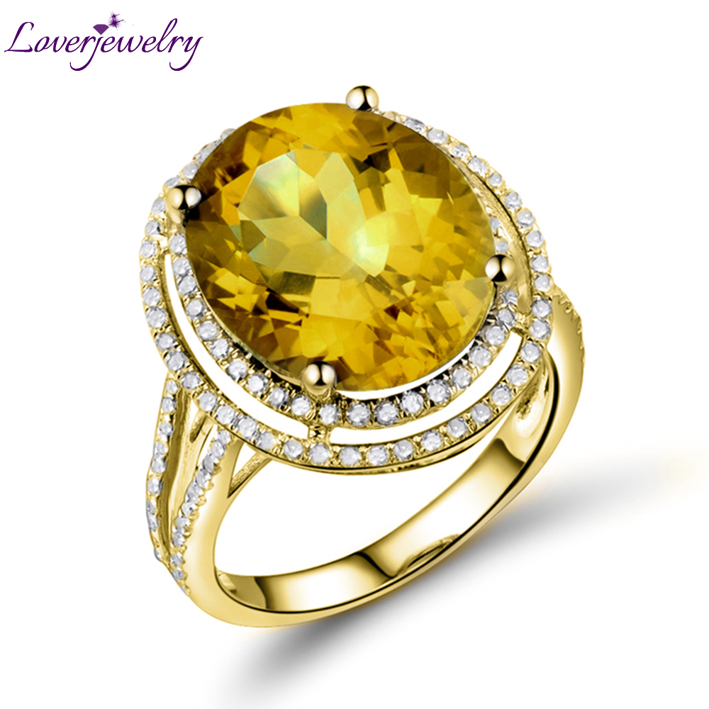 Loverjewelry Fine Jewelry Romantic Party Oval 11x13mm Natural Yellow Citrine 14kt Yellow Gold Engagement Women Ring 2T018 diy lm337t linear regulated dc power supply adjustable filtering kit