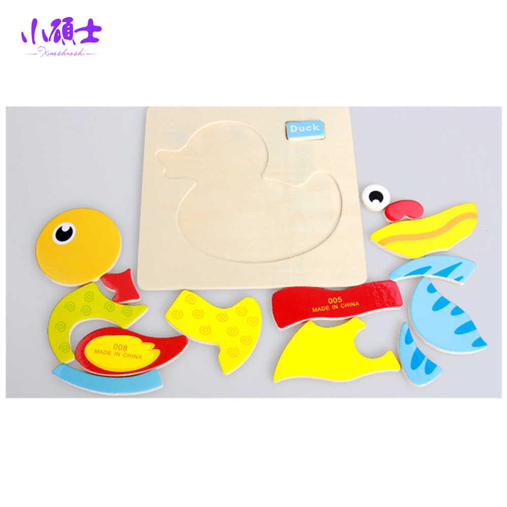 طريقة مونتيسوري الحيوان خشبية بازل قطع الكرتون Tangram الحيوانات لعبة طفل الطفل في وقت مبكر ألعاب تعليمية بانوراما المجلس