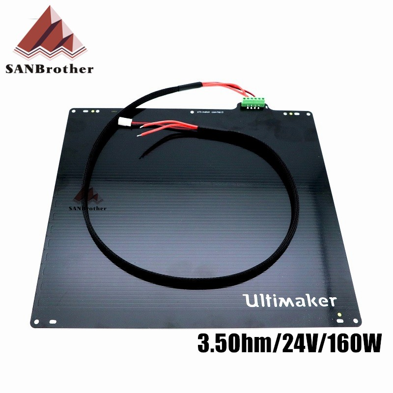 3D Printer UM2 Ultimaker 2 Extended + UM2+ Print Table Heated Bed Parts 24V 3.5Ohm Aluminum Alloy UM2 Heated Bed Plate 2017 assembled jennyprinter3 z360ts dual extruder nozzle extended for ultimaker 2 um2 high precision auto leveling 3d printer