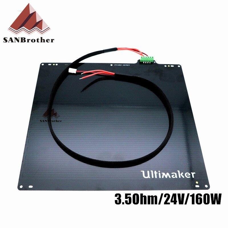 3D impresora UM2 Ultimaker 2 + extendida UM2 + mesa de cama caliente a 24 V 3.5Ohm de aleación de aluminio de UM2 cama caliente placa