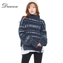 Dreawse Winter New Fashion Women Side Split Ends Dark Blue Plaid Sweater  Pullover Female Thick Warm 8ceff499f