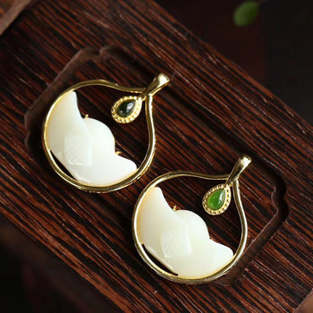 pure silver gold-plated inlay Hetian Jade pendant retro temperament high-grade lady's Necklace factory direct sales