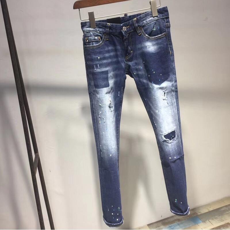 Feminino Agujero Color Lápiz Pantalones Cremallera Mujeres Casual Estrechos Vaqueros Azul Para Moda Hembra Denim Nuevo Delgado 2018 qPtOF
