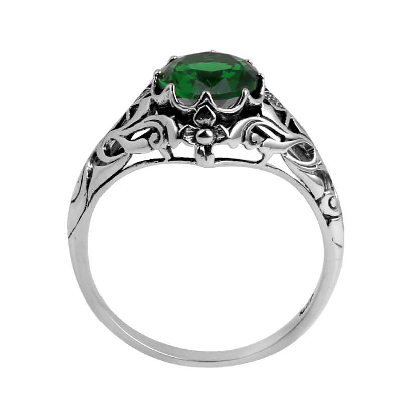 Szjinao Fine แฟชั่นเครื่องประดับขายส่ง Gold และ Silver รายละเอียด Victoria สีเขียว Emeald ผู้หญิง 925 แหวนเงินแท้