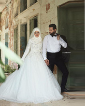 HS55 Robe De Mariage Muslim Wedding Dress Hijab Long Sleeve Arabic Wedding Gown Satin 2016 Ball Gown Dresses Vestido Noiva