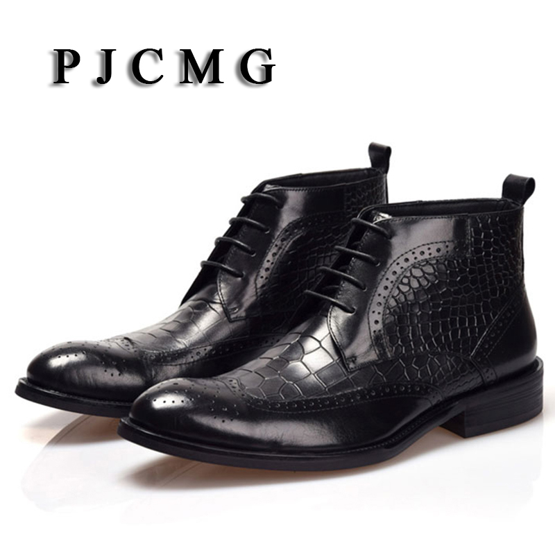 High Quality Men Boots PJCMG Winter Ankle Waterproof Rubber Crocodile Pattern Casual Leather Plush Hiking High