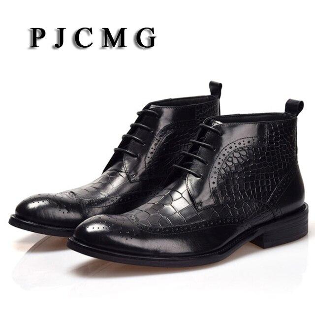 Yüksek Kalite Erkekler Çizmeler PJCMG Kış Ayak Bileği Su Geçirmez Kauçuk Timsah Desen Rahat Deri Peluş Yürüyüş Yüksek Motosiklet Çizmeler