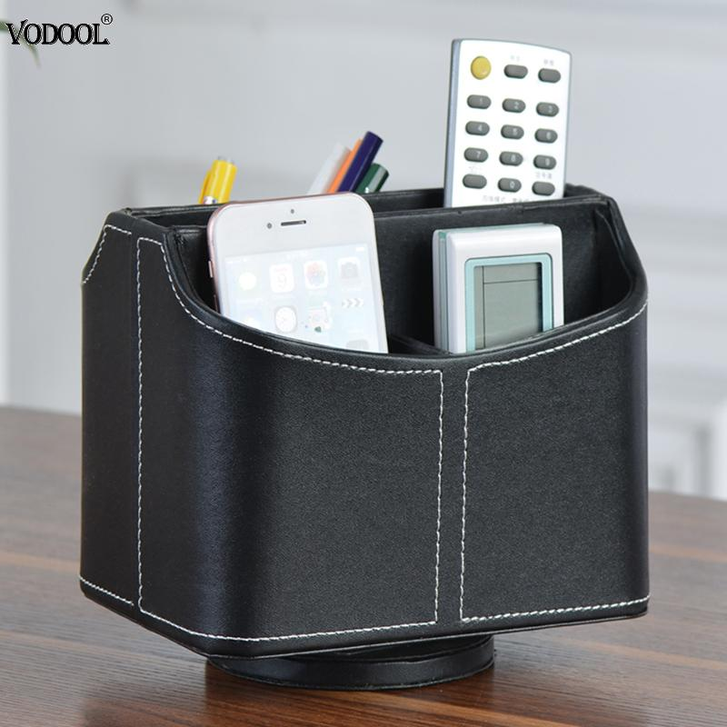 VODOOL Black Leather Storage Desktop High Quality Pencil Box Holder Table Pen Control Organization Box School Office Supplies high quality cute pen holders small objects storage box office supplies