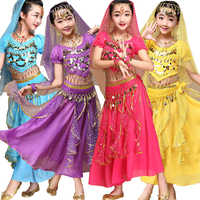 4pcs Top Pants Belt Hand Chain Children Belly Dance Costumes Kids Belly Dancing Girls Bollywood Indian