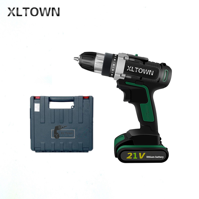 XLTOWN 21V Cordless Electric Drill Lithium Battery Rechargeable Two-Speed Electric Screwdriver with a box Electric Drill xltown new 21v home cordless electric drill with 2 battery a box multi motion lithium battery rechargeable electric screwdriver