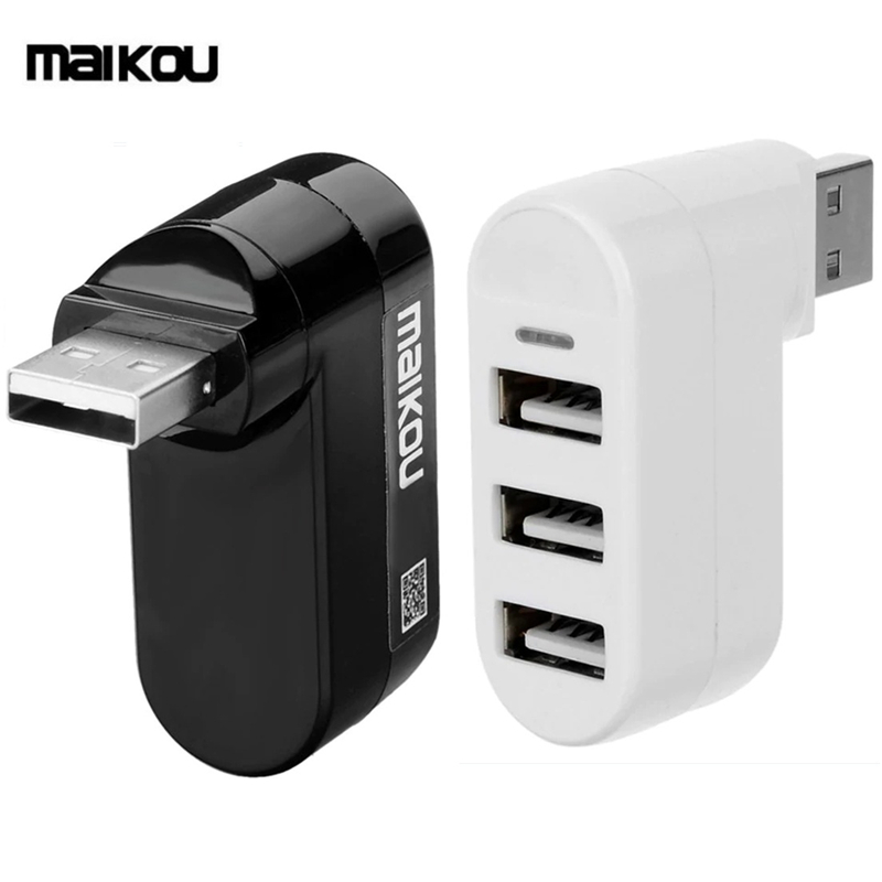 Maikou USB 2.0 HUB 180degree Rotatable High Speed 3 Port USB 2.0 Adapter HubMaikou USB 2.0 HUB 180degree Rotatable High Speed 3 Port USB 2.0 Adapter Hub