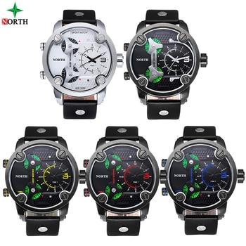 NORTH Brand Fashion Men's Sports Watches 2018  Quartz Hour Clock Man Leather