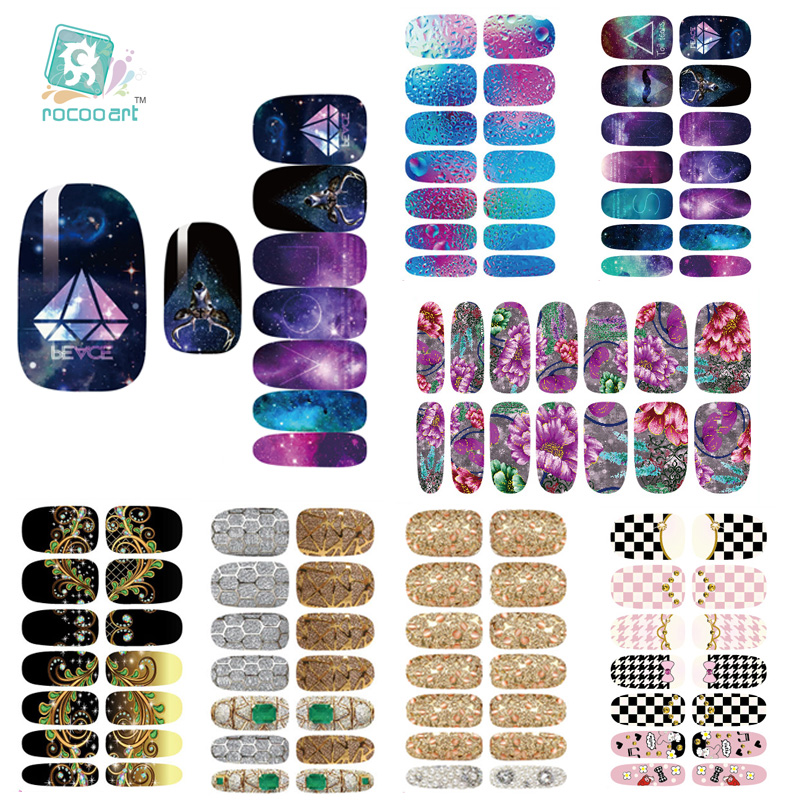 Rocooart K1 Nail Art Stickers Metallic Water Drops Space Water Transfer Nail Foils Decal Minx Manicure Decor Tools Nail Wraps