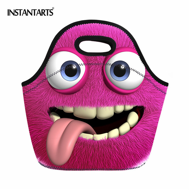 INSTANTARTS Outdoor Camping Picnic Bag 3D Printing Thermal Insulated Hiking Food Tote Handbags for Girls Boys Lunch Travel Box