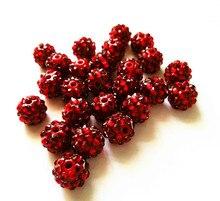 (Elija el tamaño) Cuentas de diamantes de imitación de resina de color rojo de 12mm/16mm, cuentas de bolas de resina ostentosas, collar de joyería para niños gruesos