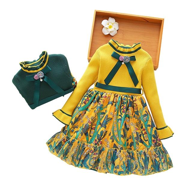 533978544081 children sweater dress 2018 new autumn winter 3-10 yrs baby girls long  sleeve princess knit dresses party frocks for little girl