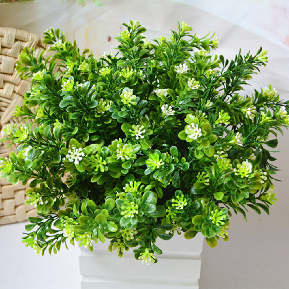 1PCS 7 Branch/bouquet Silk Fake Green Plant Fake Artificial Milan Grass With Leaf Setting Wall Decoration Flower Accessories