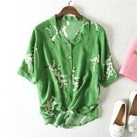 Vintage Floral Printed Female Silk Blouse 100% Natural Silk Tops and Blouses Women's elegant V neck Short Sleeve Silk Blusas