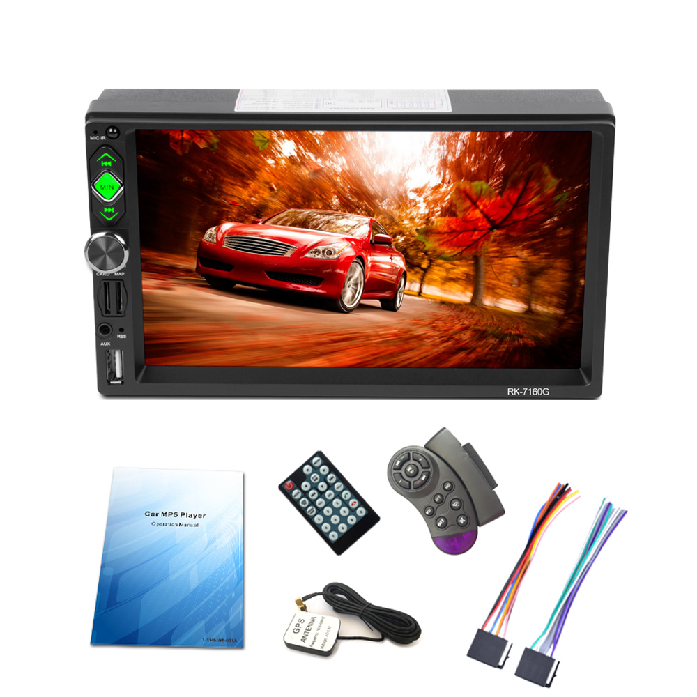 купить 7in 1080P 2 Din Car MP5 Player GPS Navigator BT AM/FM/RDS Radio Car Multimedia Player GPS Navigation Autoradio Cassette Recorder по цене 6537.28 рублей