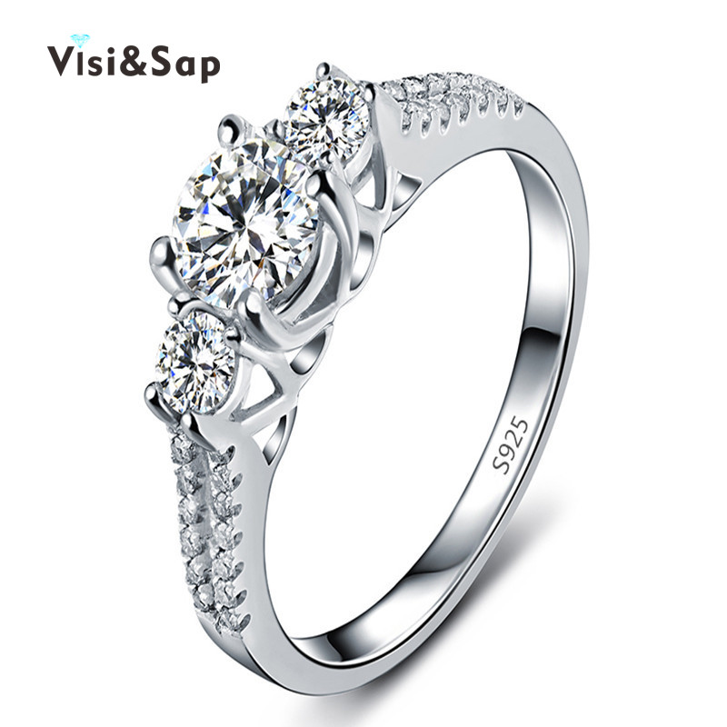 white gold plated Wedding Rings for women CZ diamond anillos de compromiso wholesale Jewelry for Women loves bijoux VSR011