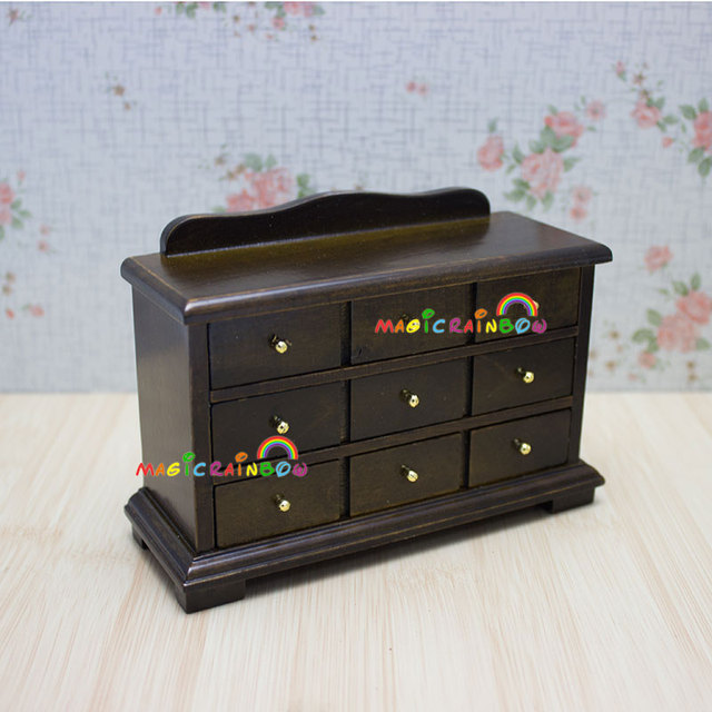 Chest Drawers Cabinet Table Cupboard Wood Dollhouse Miniatures 1:12  Handcrafted Dolls House Furniture