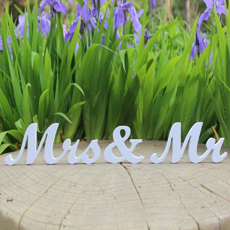Белые деревянные буквы Mr & Mrs знак Свадьба Свадебная украшения вечерние Таблица Декор Искусственный Алфавит ремесел реквизит для фотосесси...