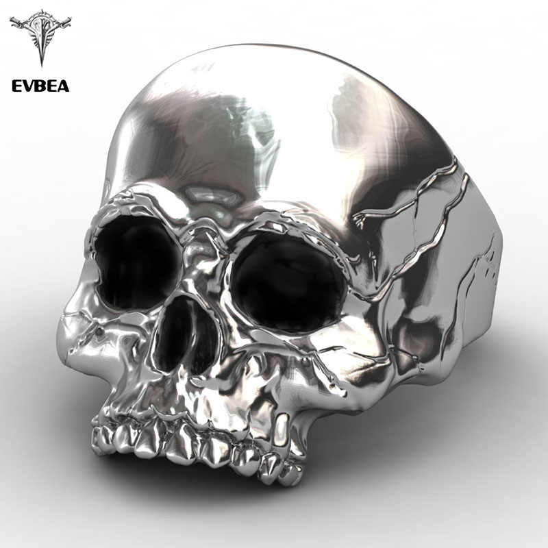 EVBEA Titanium Aço Estilo Antigo Grande Punk Biker Skull Ring For Men Original Legal Jóias Steampunk Do Vintage Jóias Anel de Motocicleta