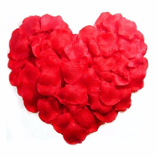 500pcs Lifelike Artificial Silk Red Rose Petals Decorations For Wedding Party