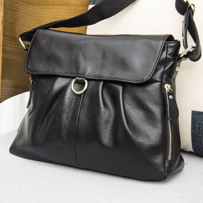 Hot Sale 2016 Black soft  Genuine Leather Women Hobo Bag Leather  Shoulder Work Handbag C Women Bucket Bag Chain Purse Elegant