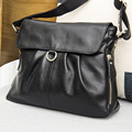 Hot Sale 2016 Black soft  Genuine Leather Women Hobo Bag Leather  Shoulder Work Handbag C Women Bucket Bag Chain Purse Elegant