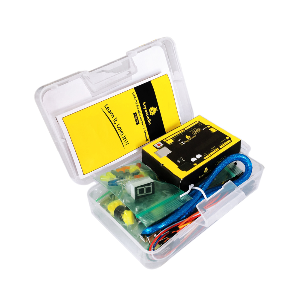Image 5 - Free shipping! Keyestudio UNO R3 Breadboard kit Gift Box For Arduino Project with dupont wire+LED+resistor+PDF-in Integrated Circuits from Electronic Components & Supplies