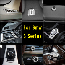 Diamond Style Star Ring Frame Cover Button Volume Adjust Switch Trim Decoration Stickers for bmw 3series 3gt