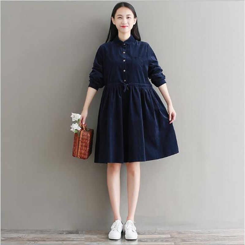 Женское винтажное платье на осень и зиму, вельветовые платья с длинными рукавами и завязками на талии, зеленые, темно-синие, Vestidos, туники QV266