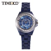 Nueva Time100 Relojes Elegancia Simulada Deep Blue Cerámica Casual Señoras reloj de Pulsera de Cuarzo de Las Mujeres Relojes relogio feminino Reloj Colck