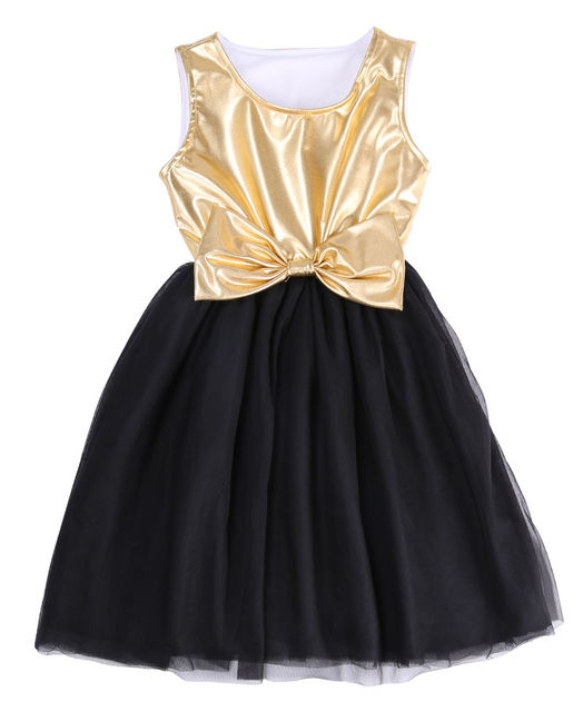 0277658c598b5 New Sleeveless Baby Girl Dress Gold Shiny Bow Patchwork Black Lace Ball Gown  Dress 2-
