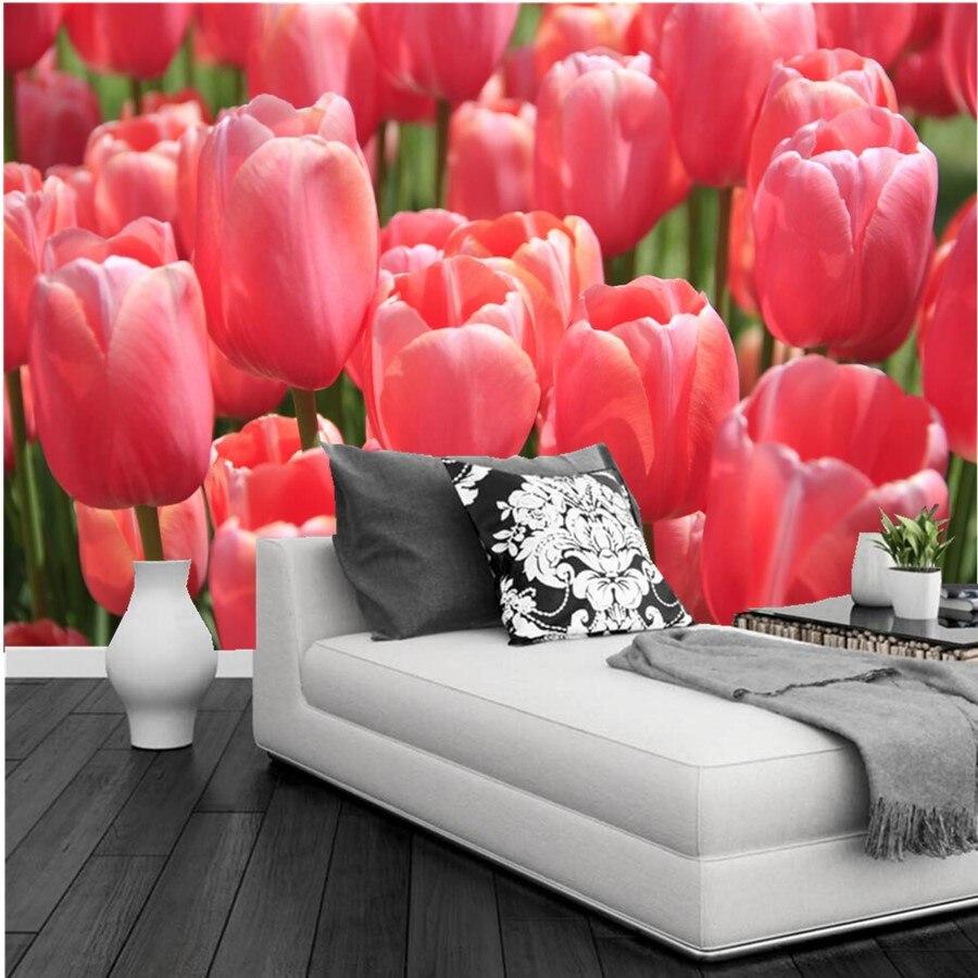 Customtulips Closeup Many Pink Color Flowers Wallpaper Papel De