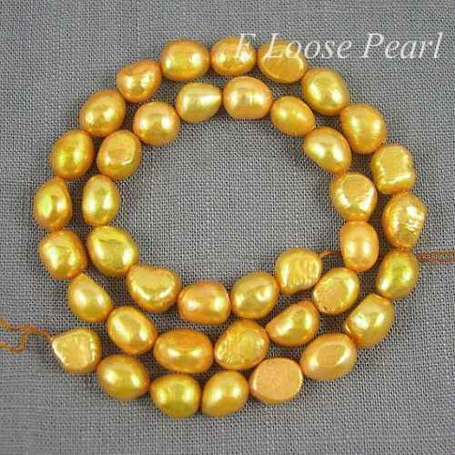 wholesale Baroque pearl Freshwater Pearl Potato Yellow Loose Beads 7.5-8.5mm 36pcs