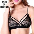 Mix&Match 2016 New Sexy Bra Tops NO Cup Wire Free Cross Bandage Seethrough Lace Lingeries Bra Tops BR04442C