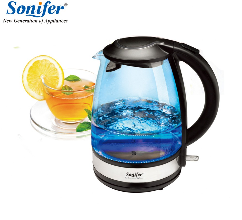 1.7L Original Colorful Electric Kettle Glass 2200W Household Quick Heating Electric Boiling Pot Sonifer 1 7l original colorful electric kettle glass 2200w household quick heating electric boiling pot sonifer