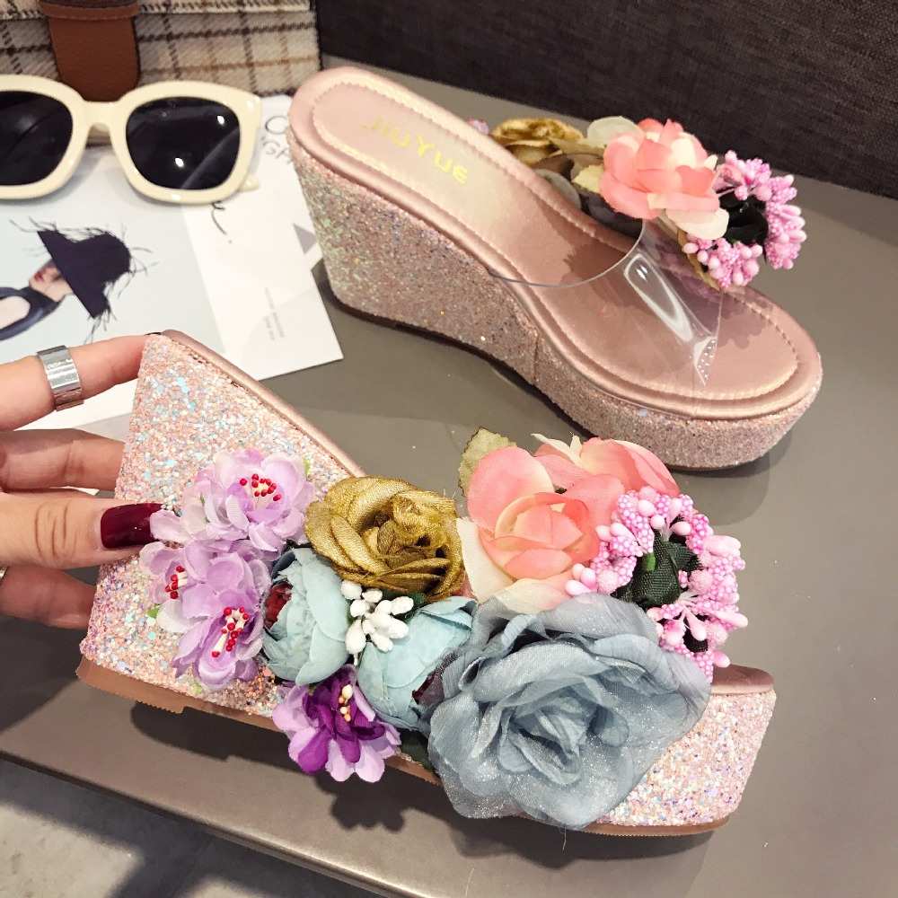 Wedge Slippers Women Shoes Summer Waterproof Table Flowers High Heels 12.5CM Beach Shoes Ladies Thick-soled Transparent SandalsWedge Slippers Women Shoes Summer Waterproof Table Flowers High Heels 12.5CM Beach Shoes Ladies Thick-soled Transparent Sandals