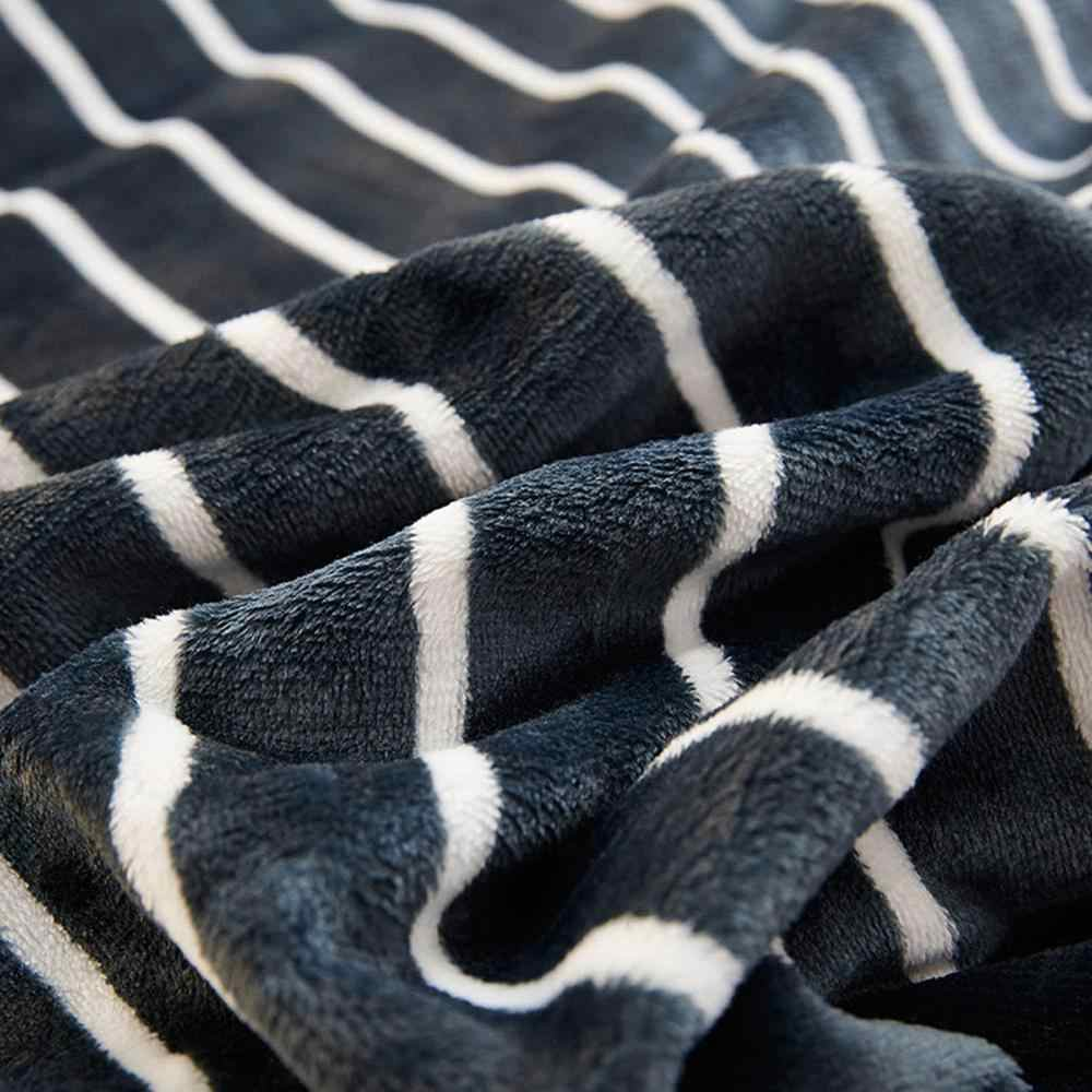 2019 Simple White Lines Black Soft Print Double-side Blankets Throws Flannel Fleece Microfiber Plaids Bedsheet Polyester
