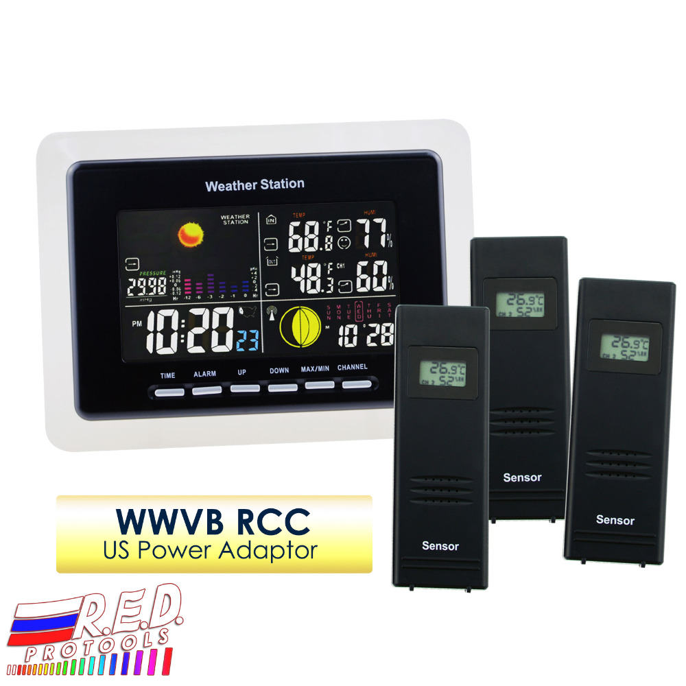 Weather Station + 3 Wireless Sensor With 5 Weather Forecast RCC Receiver With Am/Pm Indicator and LED Backlight WWVB - 110V Only цена