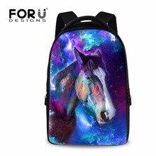 Forudesigns/Прохладный Crazy Horse Рюкзак для подростков Обувь для мальчиков Обувь для девочек персонализированной печати леопарда волк ноутбук Bagpack большой Размеры рюкзак