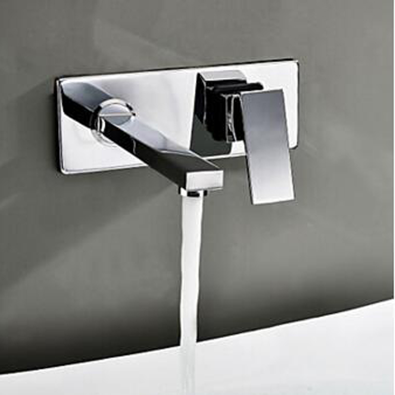 BAKALA  Free shipping Bathroom Basin Sink Faucet Wall Mounted Square Chrome Brass Mixer Tap bakala free shipping bathroom basin sink faucet wall mounted waterfall chrome brass mixer tap lt 324