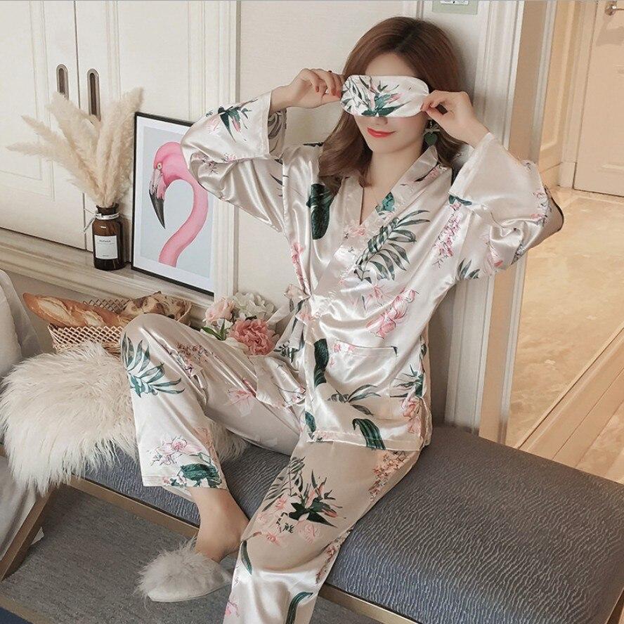2018 New Autumn Winter Women Cotton Pajamas Set Animal Kimono shirt + pants Pajamas Sleepwear Warm Pyjamas Home Clothing Pijama